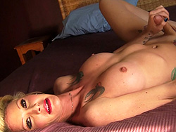 In my bedroom Pleasant Morgan jerks her huge cock. Morgan Bailey.