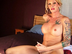 In my bedroom. Exciting tranny Morgan delight herself