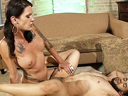 Morgan and peeping tom. Inviting shemale Morgan banging peeping Tom