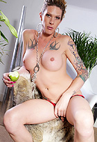 Morgan apple Tattooed tranny Morgan exposing herself.